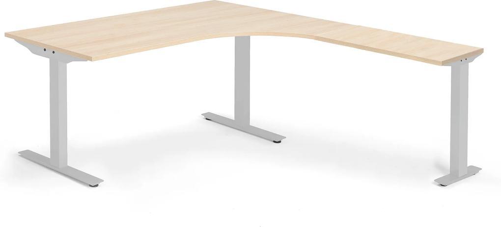 Modulus ergonomický stôl, T-stojan, 1600x2000 mm, strieborný rám, dub