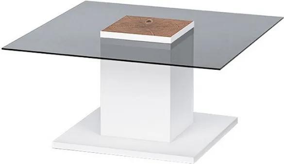 Konferenčný stolík Woods, biely/sklo/dub