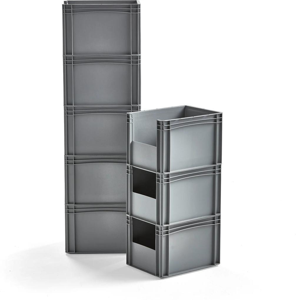 Plastová prepravka, šedá, 400x300x270 mm, 8 ks
