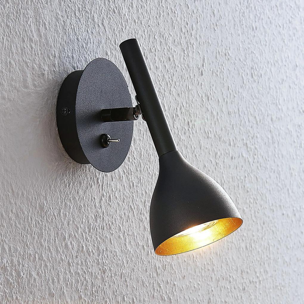Nástenná lampa Nordwin z kovu, čierno-zlatá