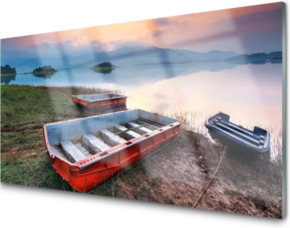 Obraz na skle Skleněný loďka krajina