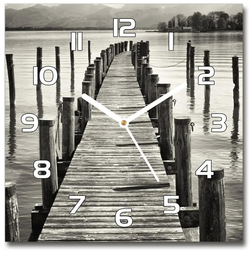 Sklenené hodiny na stenu Drevené mólo pl_zsk_30x30_f_80039561