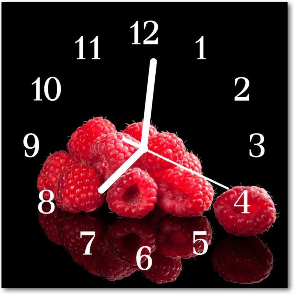 Skleněné hodiny čtvercové maliny