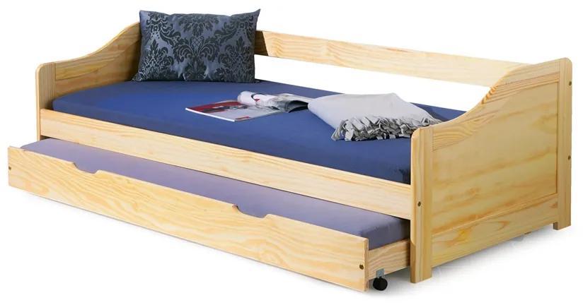 HALMAR Laura 90 drevená rozkladacia posteľ s prístelkou borovica
