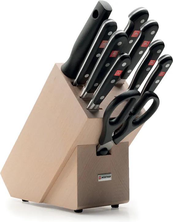 WÜSTHOF Súprava nožov so svetlým blokom, vidličkou na mäso, ocieľkou a nožnicami 10-dielna Classic