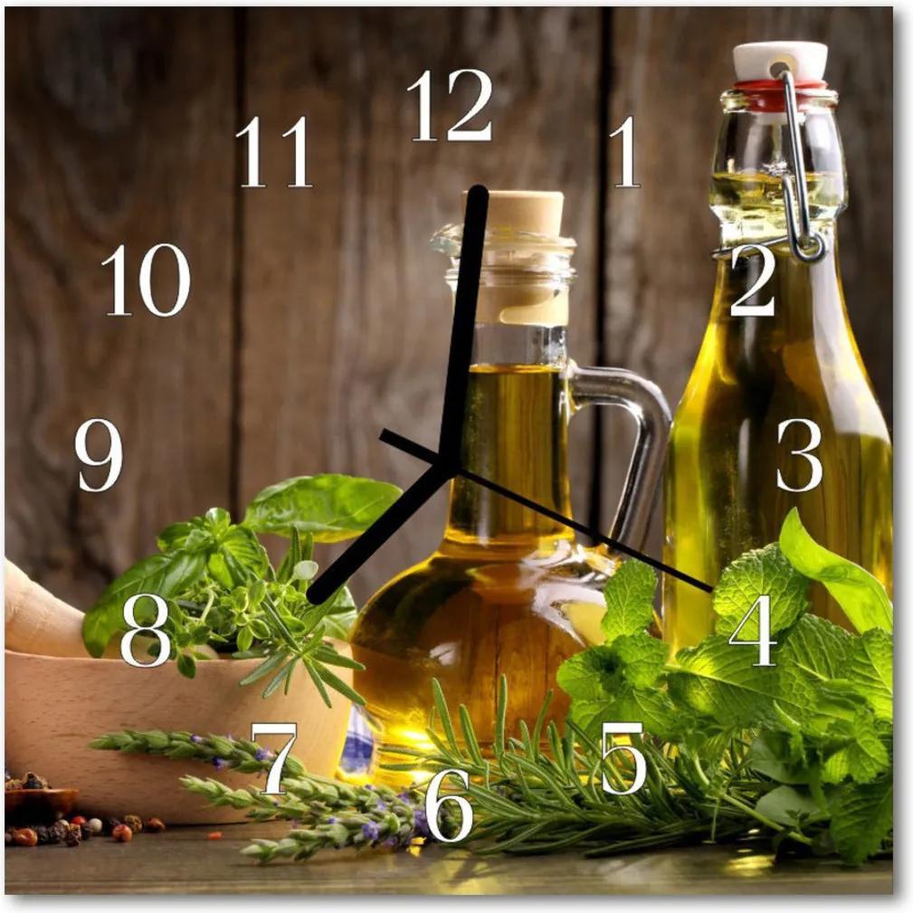 Nástenné sklenené hodiny  olivové korenie