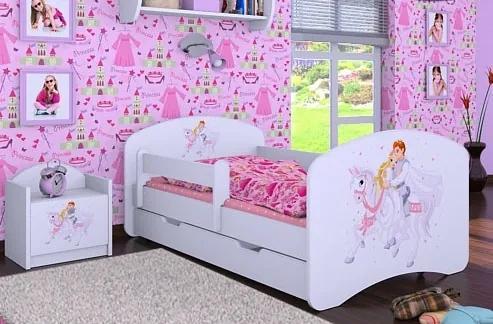 MAXMAX Detská posteľ so zásuvkou 180x90cm PRINC NA BIELOM KONI