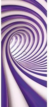 Dverová fototapeta - DV0738 - Špirálový fialový tunel - 3D 91cm x 211cm - Vliesová fototapeta