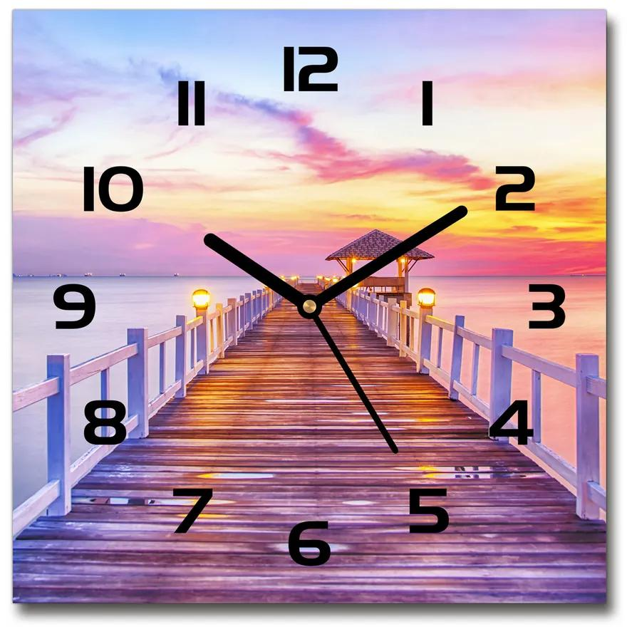 Sklenené hodiny štvorec Drevené mólo pl_zsk_30x30_f_55017607