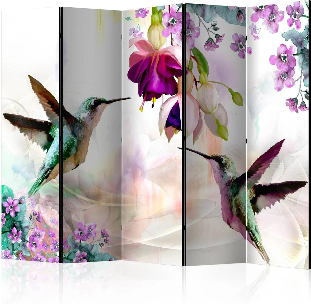 Paraván - Hummingbirds and Flowers II [Room Dividers] 225x172