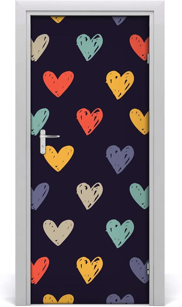 Samolepící fototapeta na dveře Barevná srdce
