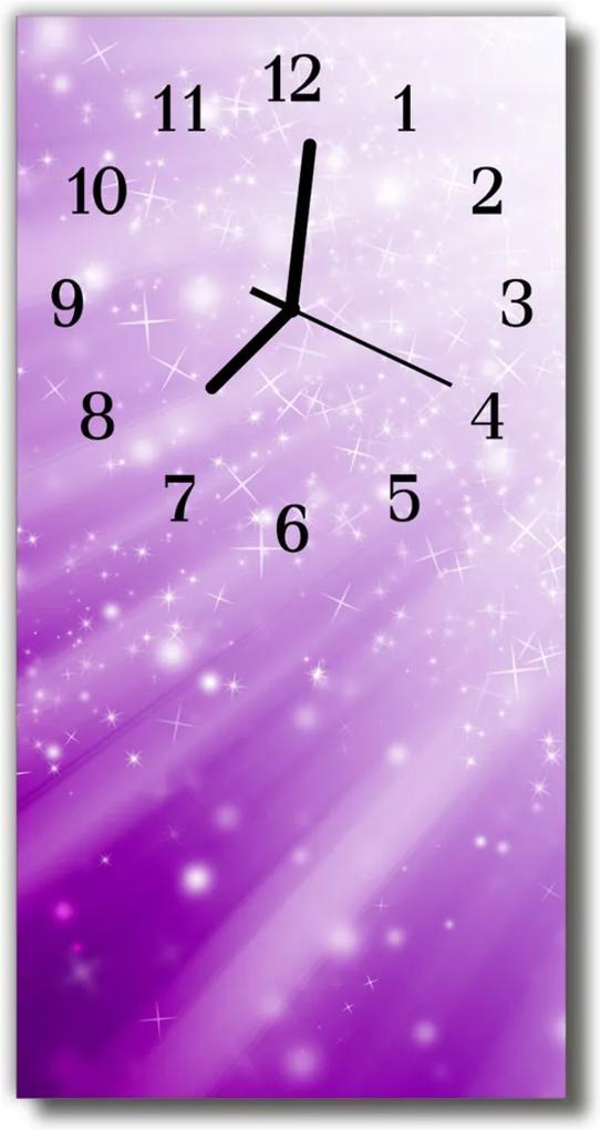 Skleněné hodiny vertikální Nature Stars fialové paprsky
