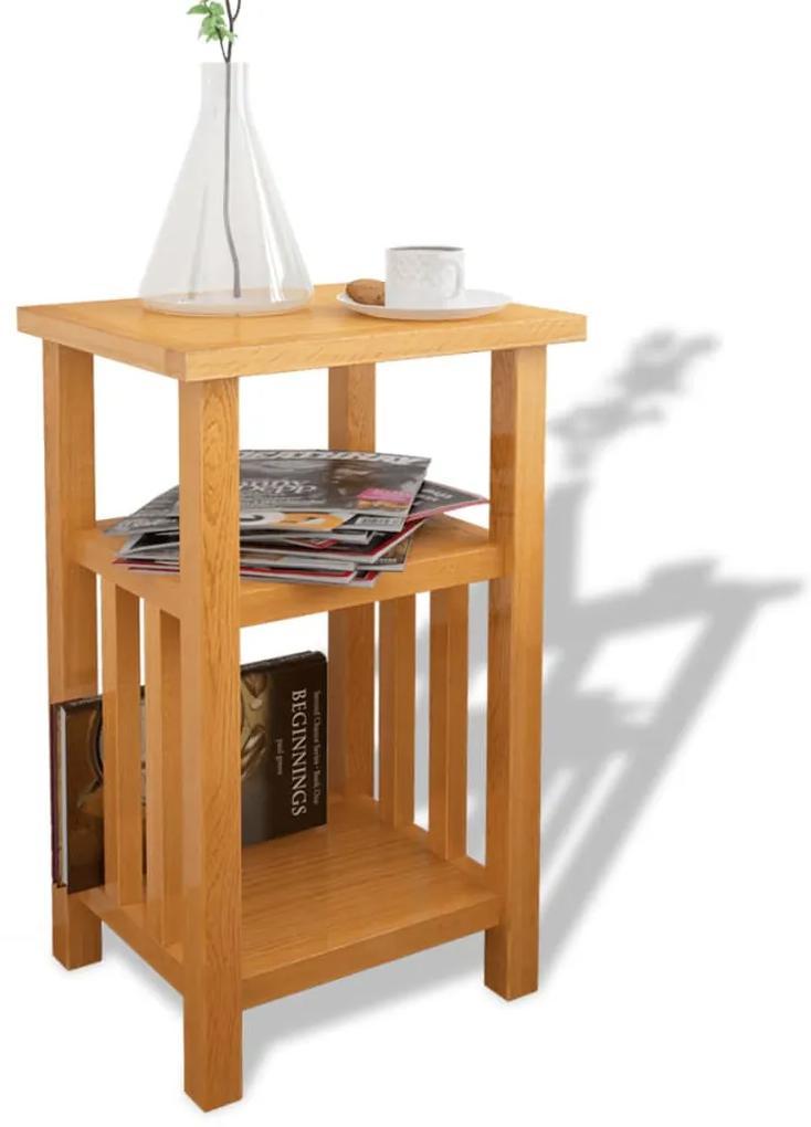 vidaXL Odkladací stolík s poličkou 27x35x55 cm, dubový masív