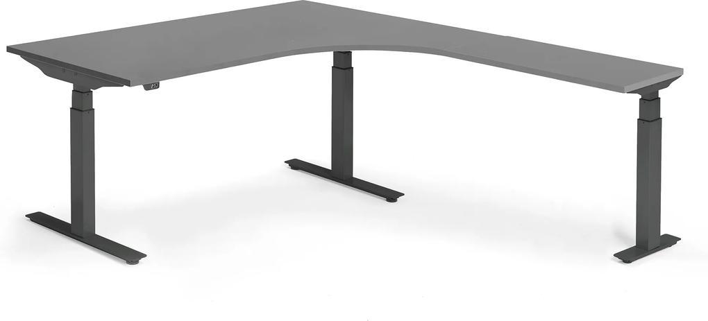 Výškovo nastaviteľný stôl Modulus, rohový, 1600x2000mm, čierna/čierna