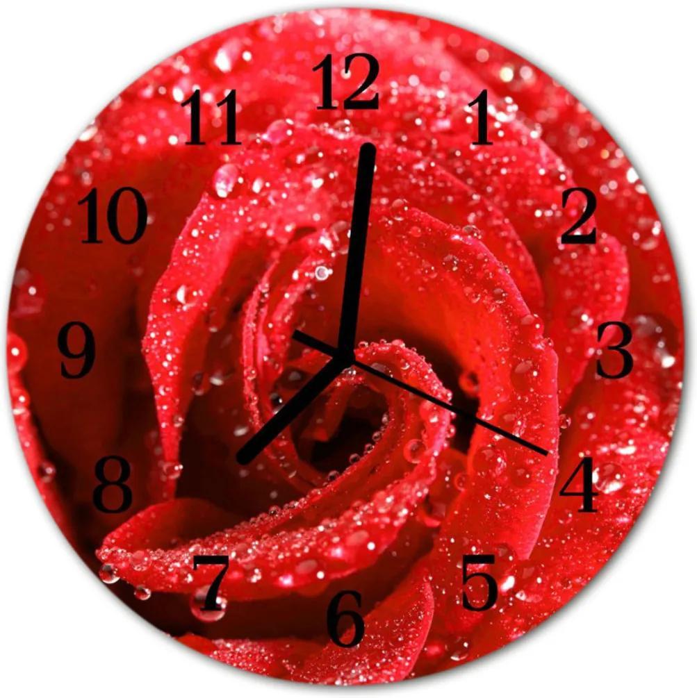 Skleněné hodiny kulaté růže