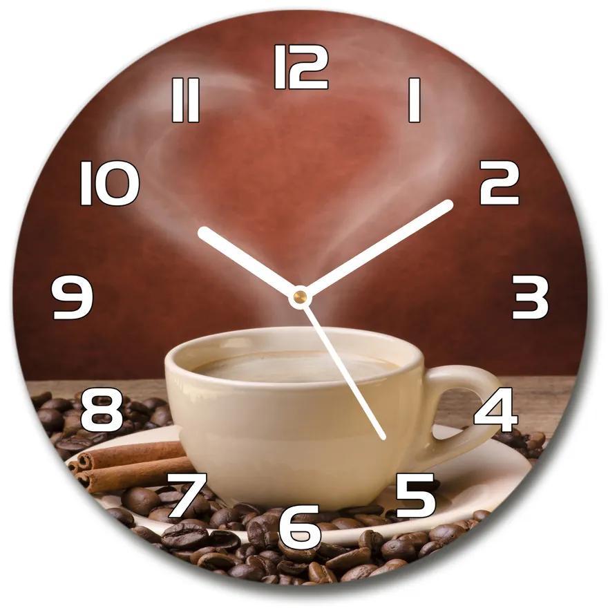 Sklenené hodiny na stenu Aromatická káva pl_zso_30_f_54277714