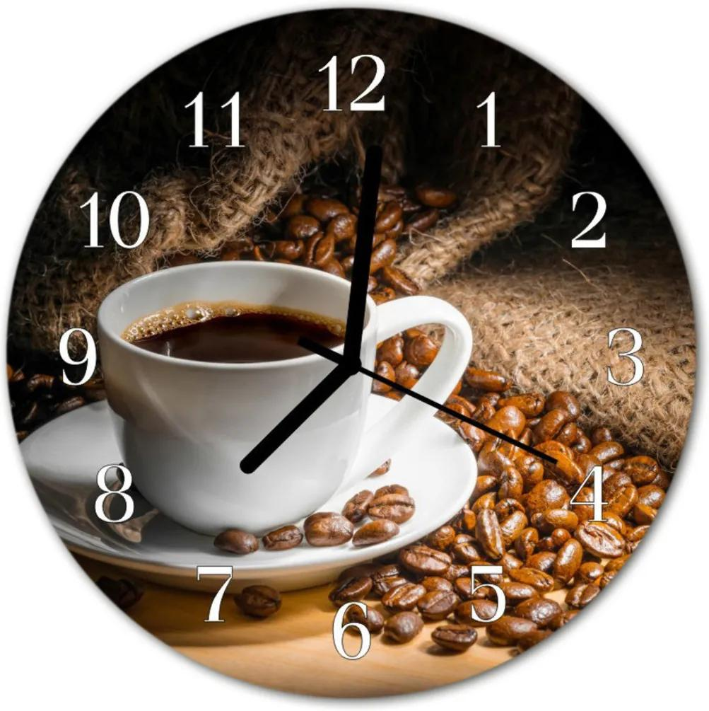 Skleněné hodiny kulaté káva