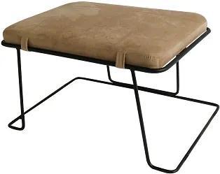 Dizajnový taburet, béžová látka/čierny rám, MERANO YF-S02