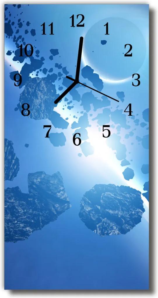 Nástěnné hodiny vertikální Příroda Nebe asteroidy modrá