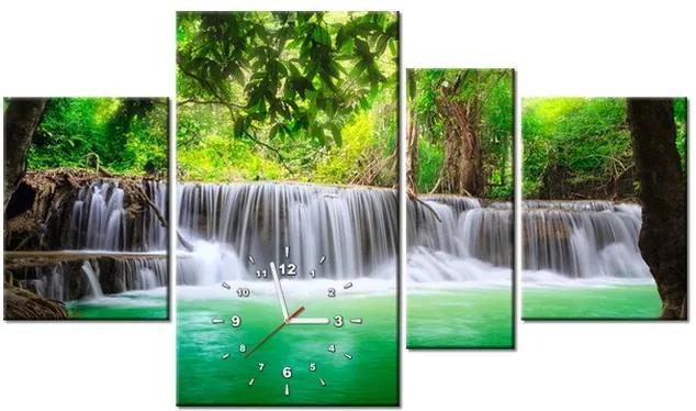 Tlačený obraz s hodinami Thajsko a vodopád v Kanjanaburi 120x70cm ZP1189A_4AN