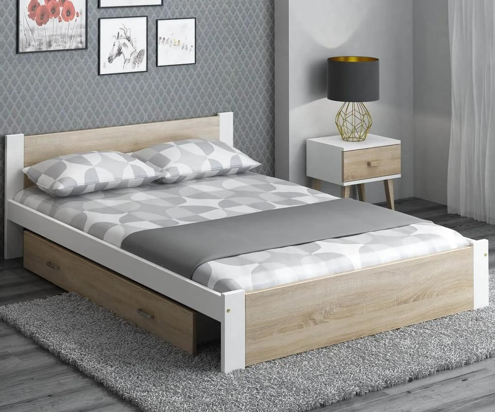 AMI nábytok Postel DMD3 140x200cm bílá+dub sonoma