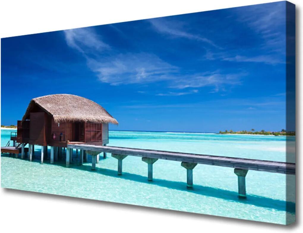 Obraz na plátně Moře pláž dům architektura