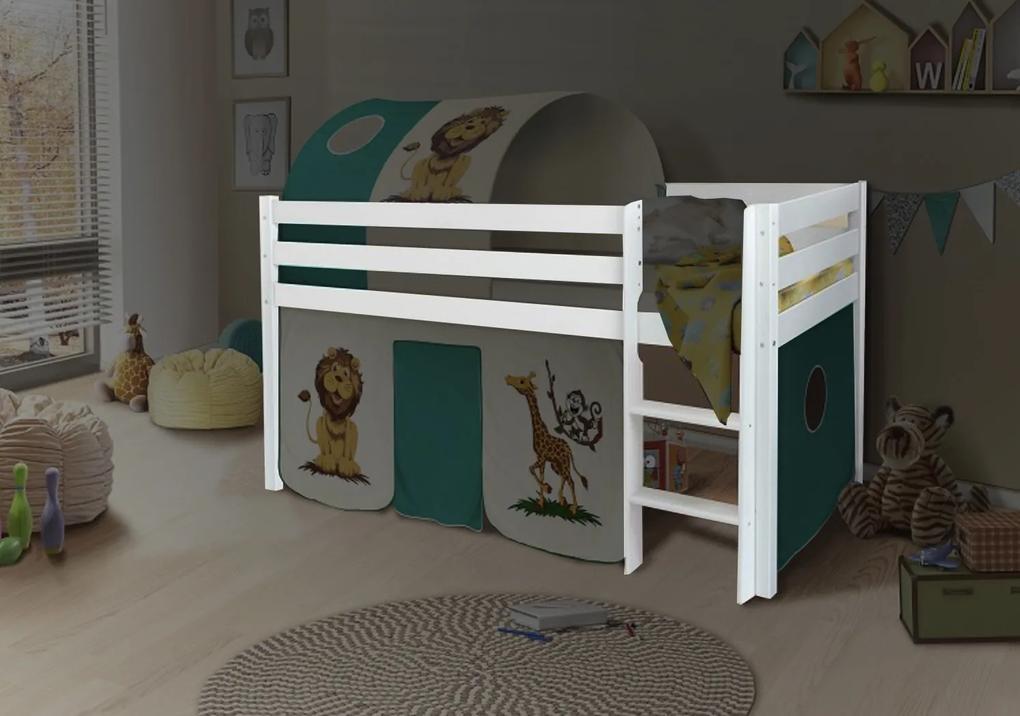 MG Vyvýšená detská posteľ POLA 90x200 - biela