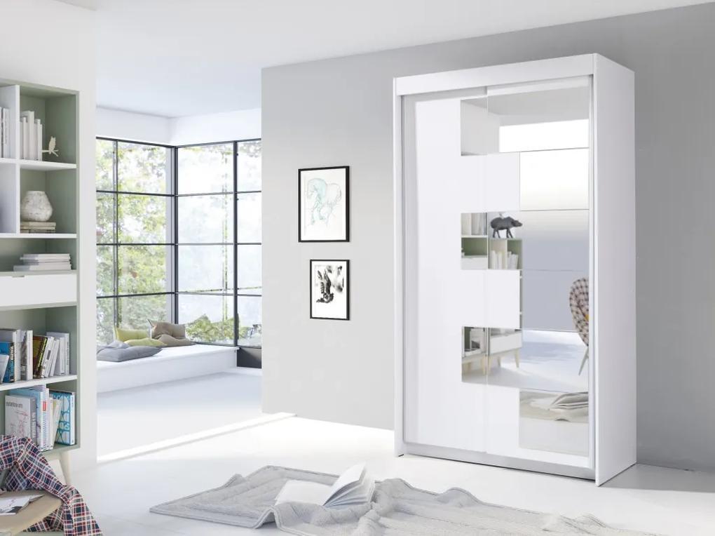 MEBLINE Posuvná šatňa ZACH 120 Biely +  Zrkadlá