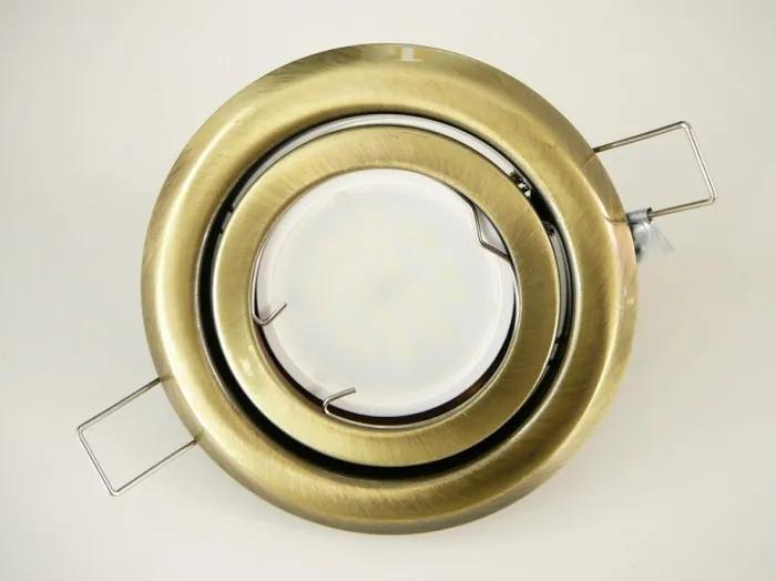 T-LED LED bodové svetlo do sadrokartónu 5W matná mosadz 230V výklopné Farba svetla: Denná biela 10422