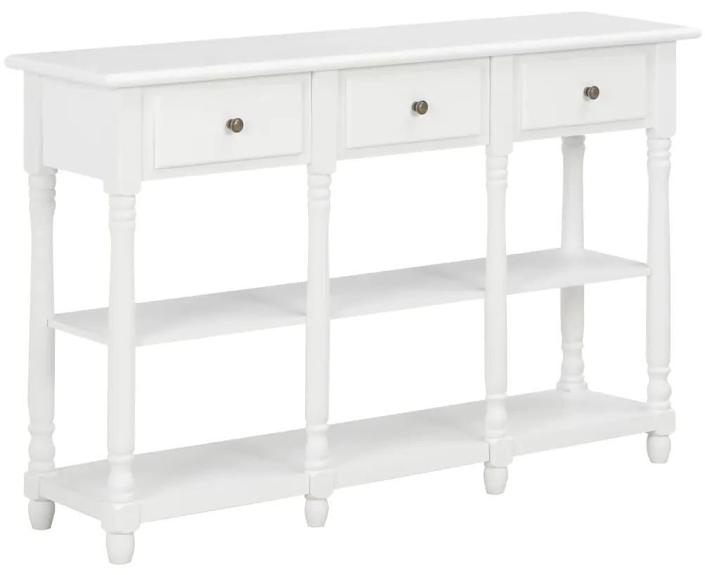 vidaXL Konzolový stolík biely 120x30x76 cm MDF