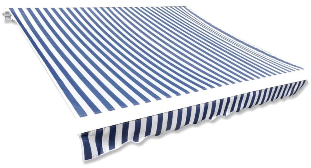 vidaXL Tieniaca plachta na markízu, plátená, modro biela 350x250 cm