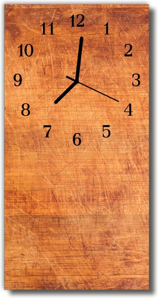 Skleněné hodiny vertikální Dřevěné hnědé desky
