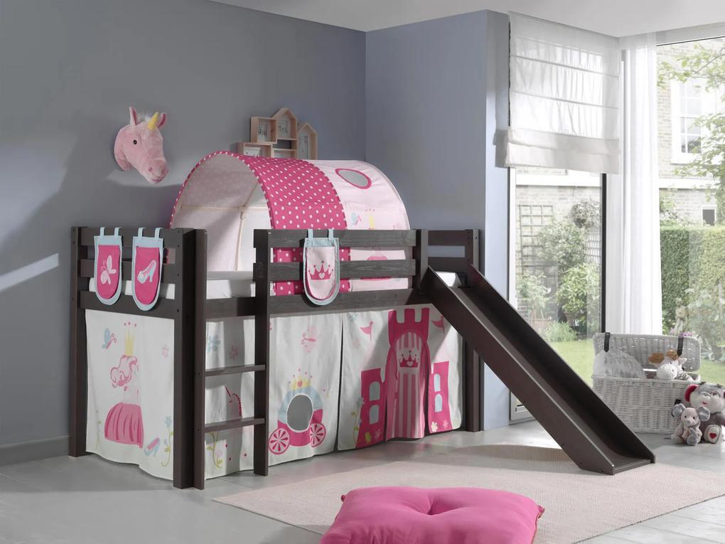 Detská posteľ so šmýkačkou pre dievčatá tmavá Pino - Detská posteľ s kĺzačkou Pino