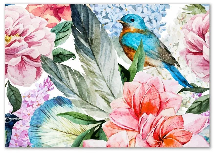 Fotoobraz sklenený na stenu do obývačky Kvety a vtáky pl-osh-100x70-f-83956039
