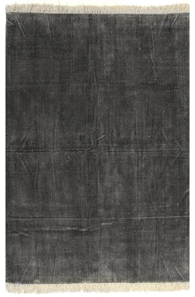 vidaXL Kilim Koberec z bavlny 120x180 cm antracitový