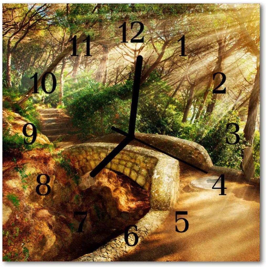 Nástenné skleněné hodiny Lesní most