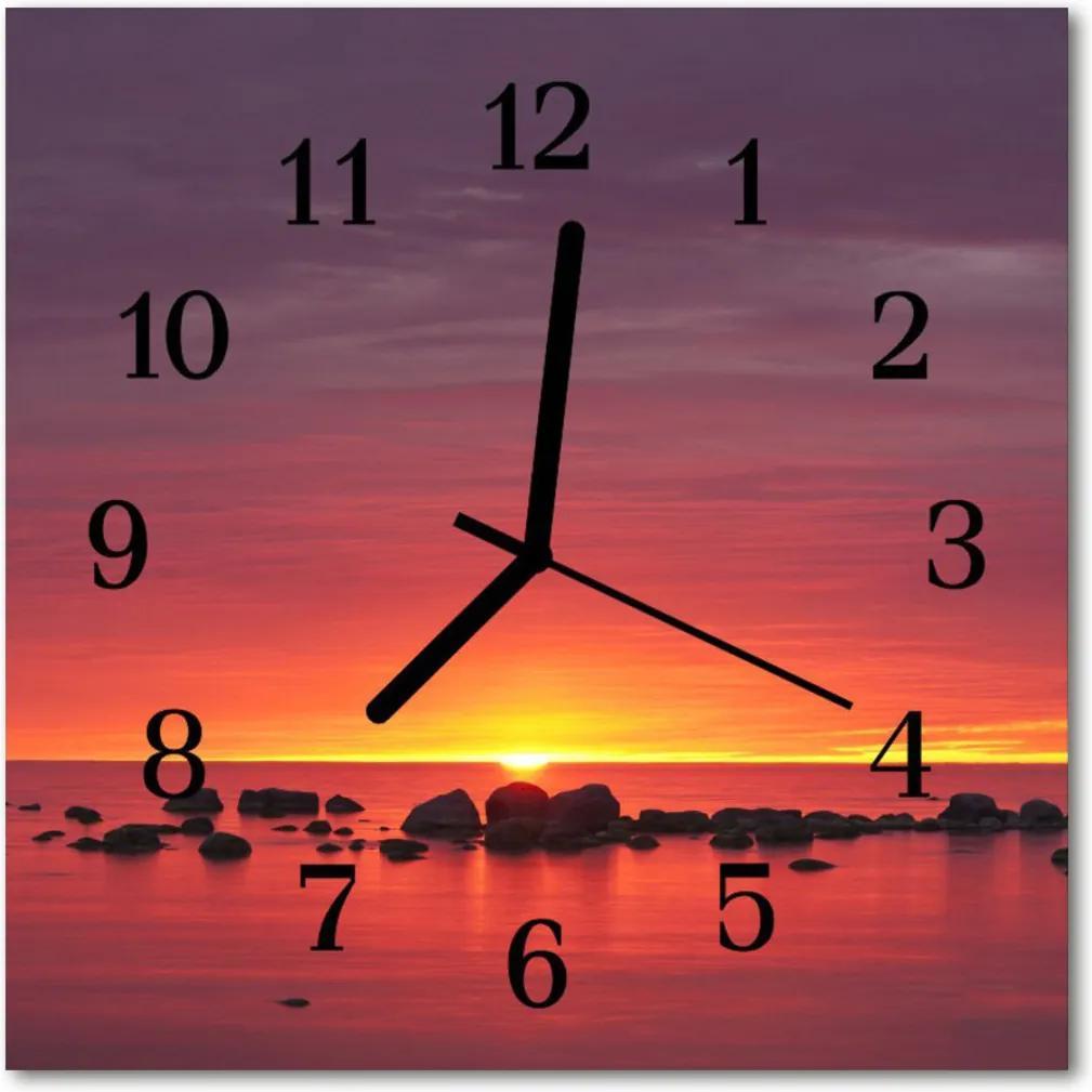 Nástenné skleněné hodiny Západ slunce