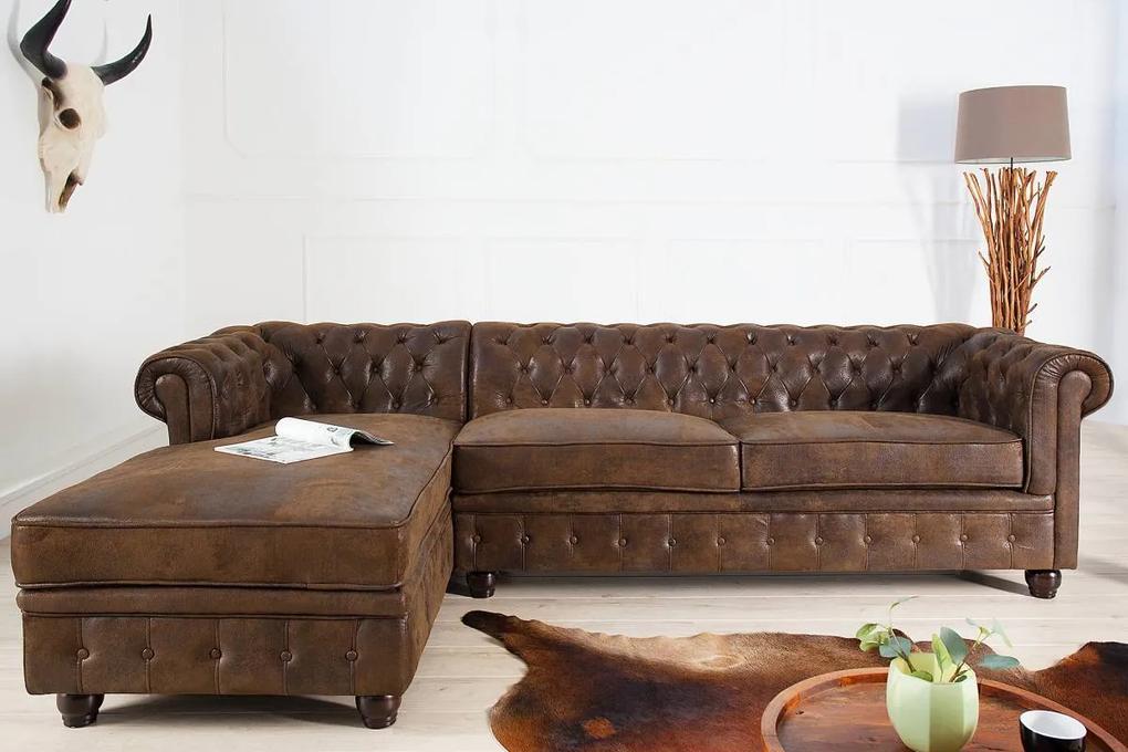 Rohová sedačka Chesterfield, antik hnedá, ľavá