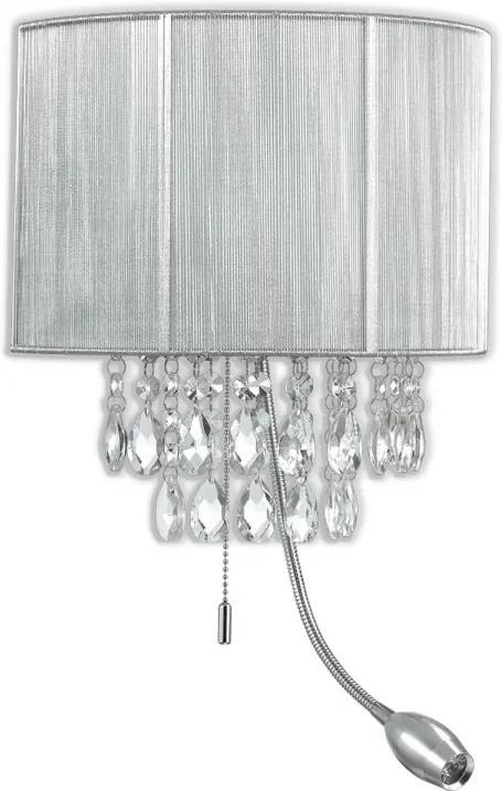 Ideal Lux 122588 nástenné svietidlo so smerovou lampičkou Opera Argento 1x40W | E14 a 1x1W