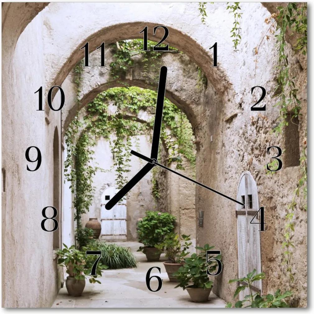 Skleněné hodiny čtvercové Rostlinná alej