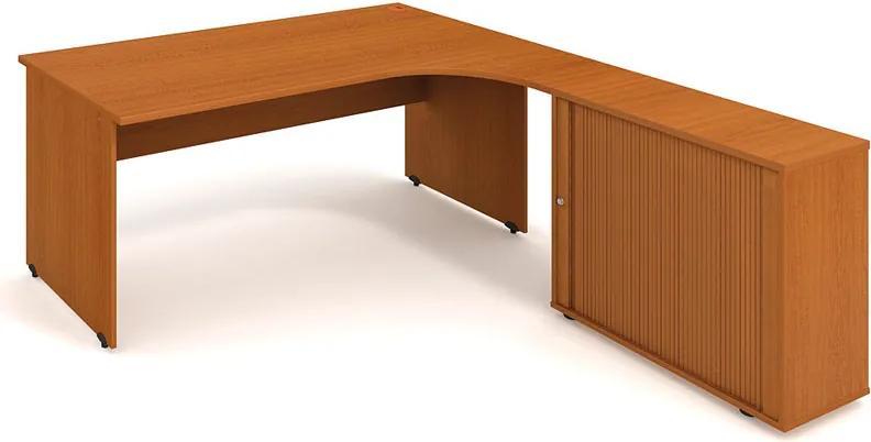 Rohový písací stôl UNI so skrinkou - dĺžka 1800 mm, ľavý, buk
