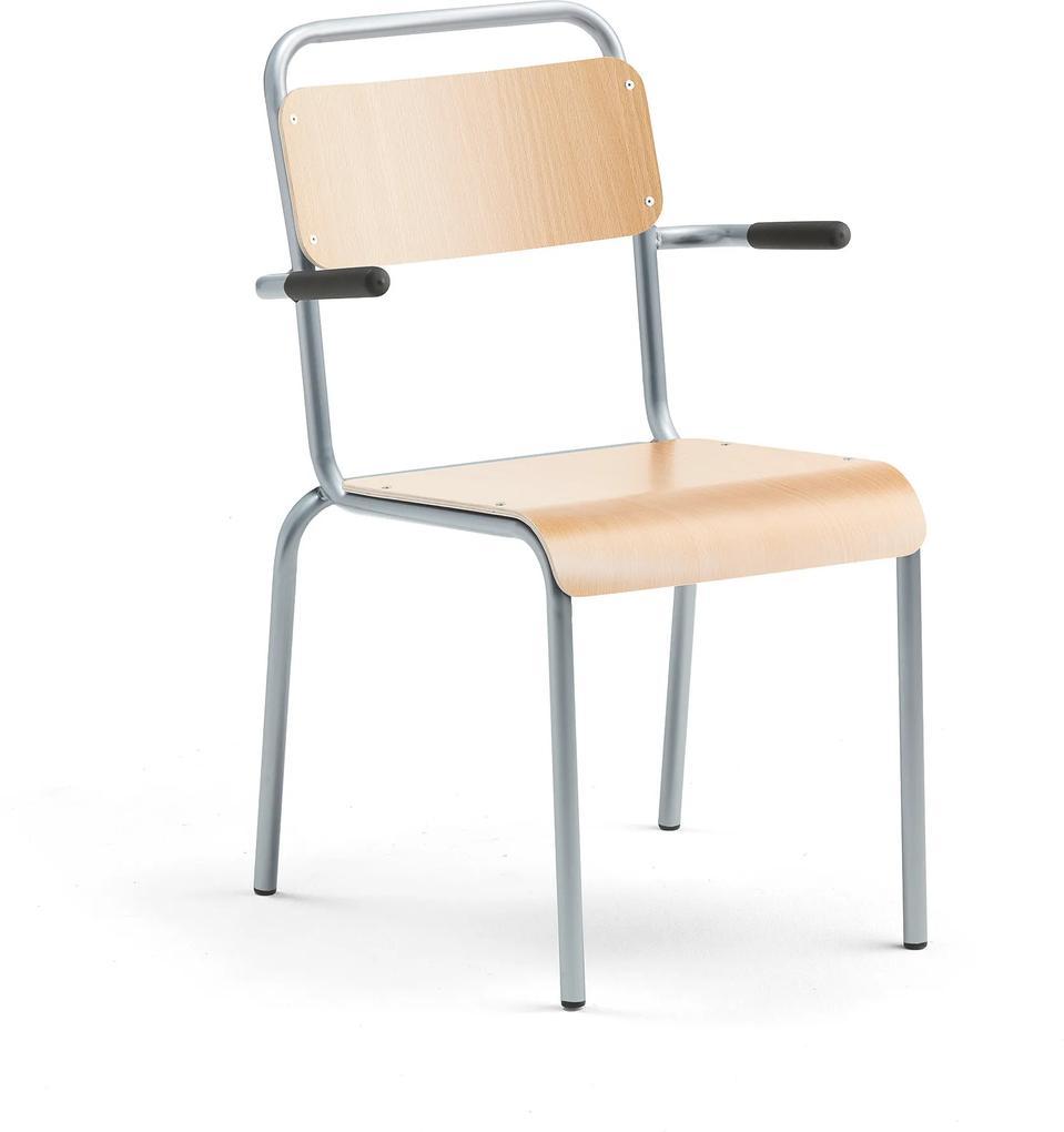 Jedálenská stolička Frisco, s podrúčkami, hliníkový rám, bukový laminát