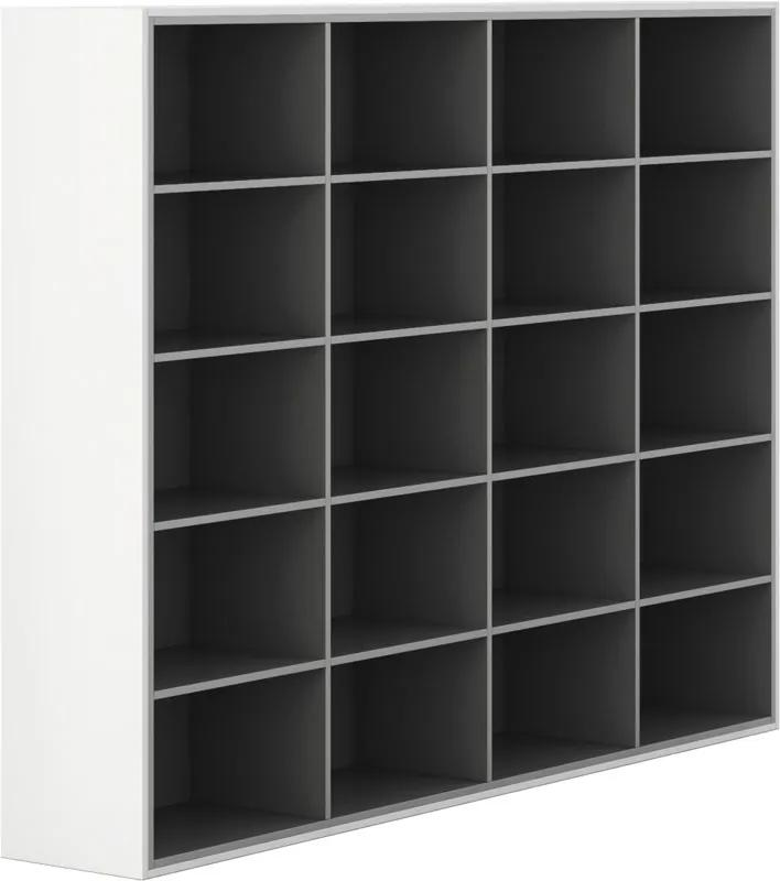 Skriňa otvorená, dlhá, Gray LAYERS biela sivá bez dverí 16 400 2350 1795 LAYERS