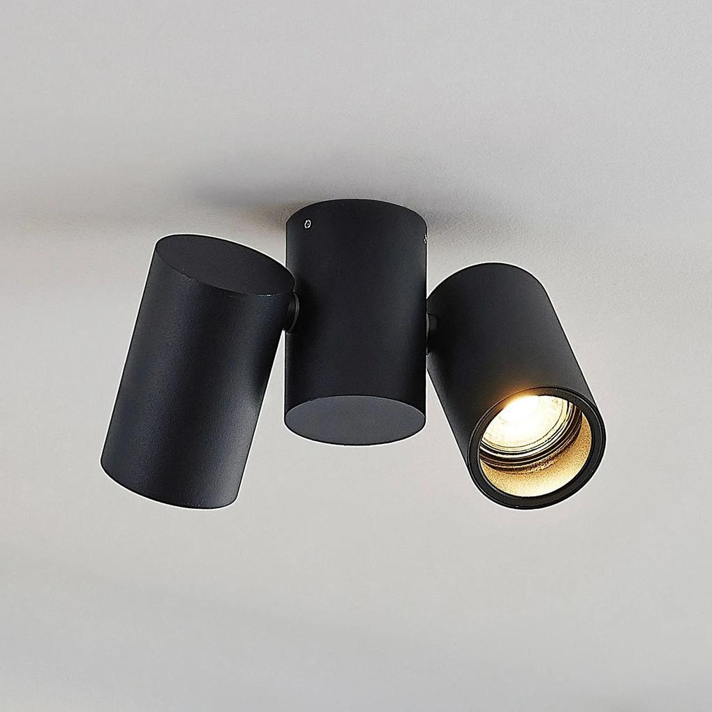 Stropná lampa Gesina, dve svetlá, čierna