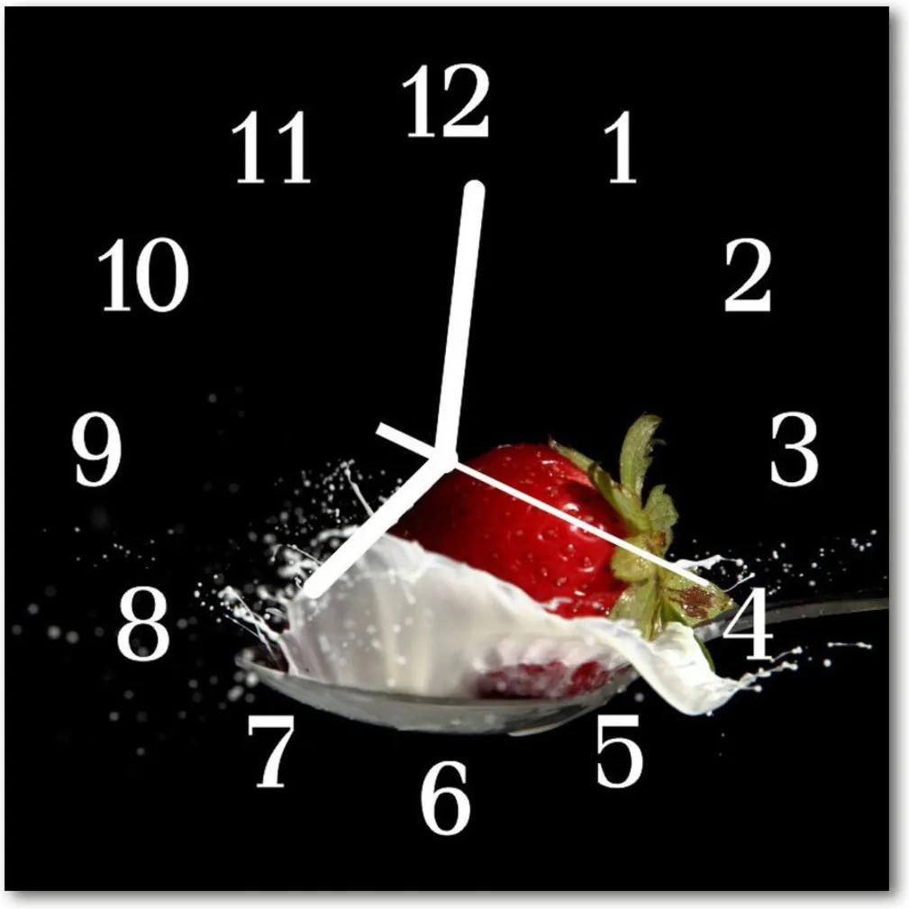 Sklenené hodiny štvorcové  jahoda