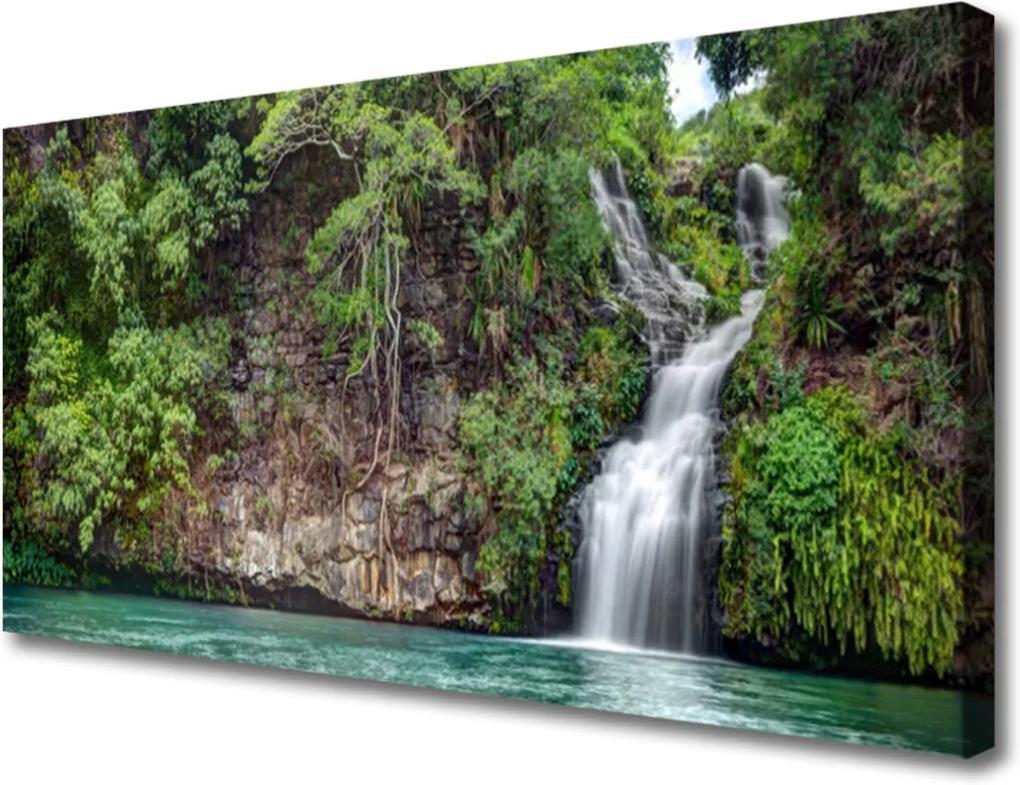 Obraz na plátně Vodopád skála příroda