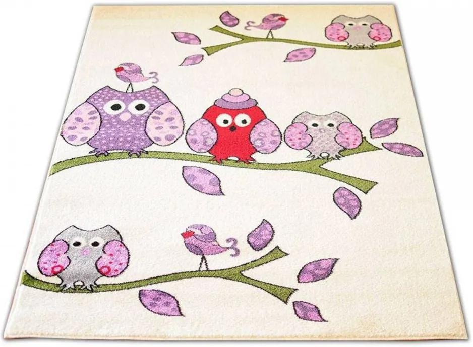 Detský koberec Sovy krémový, Velikosti 240x330cm