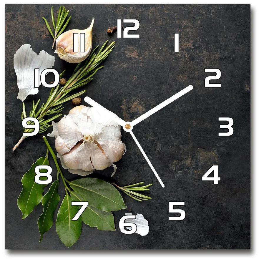Sklenené nástenné hodiny štvorec Cesnak pl_zsk_30x30_f_77095501