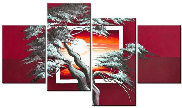 Tlačený obraz Červený západ slnka a mohutný strom 120x70cm 4022A_4Z