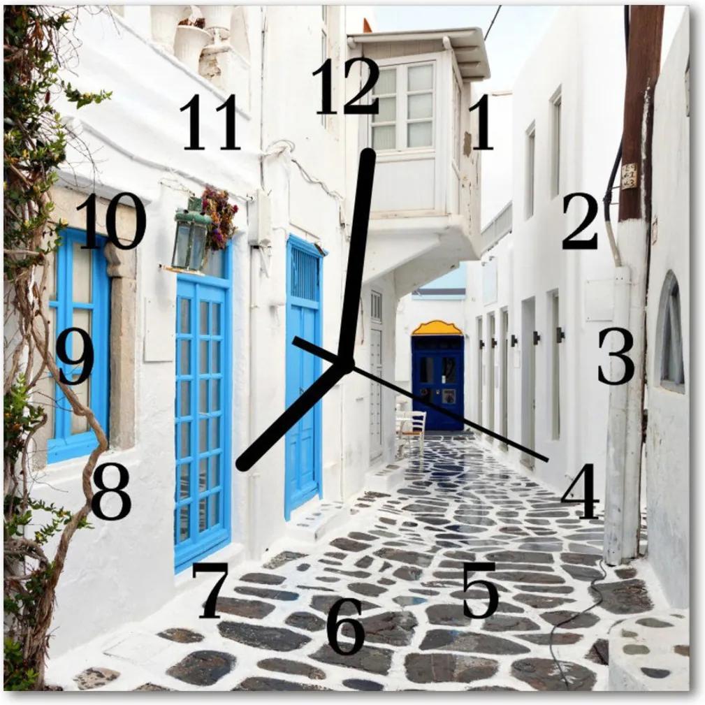 Nástenné skleněné hodiny Santorini